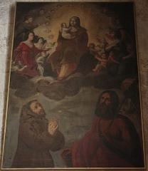 Chapelle des Pénitents Bleus - Français:   Chapelle des Pénitents bleus: Vierge entouré d\'un chœur d\'anges et Saint Jean-Baptiste et saint François en buste.