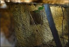 Villa gallo-romaine - Français:   Puits peut être antique,  près des carrières de Gouldeau, détail Intérieur. Bloc montrant des traces d\'outils de carriers et une \