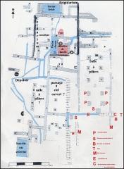 Villa gallo-romaine - Français:   Plan d\'ensemble actuel du site gallo-romain  de Vivios (Lespignan, ouest de l\' Hérault). Le réseau des canalisations est en bleu (M.Clavel-Lévêque). Les parties rajoutées au sud-est et indiquées en rouge sont de découverte récente (A.Lopez,2018).