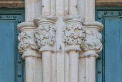 Ancienne cathédrale, actuelle église paroissiale Saint-Fulcran - English: Detail of the portal of the Saint Fulcran cathedral of Lodève, Hérault, France
