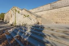 Ensemble de la promenade du Peyrou - Un des escaliers de la Place royale du Peyrou dans sa partie sud-ouest. Montpellier, Hérault, France.