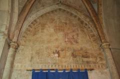 Eglise Saint-Saturnin - Français:   Nissan-lez-Enserune (Hérault) - église Saint-Saturnin - fresque du Couronnement de la Vierge, du XIVe siècle.