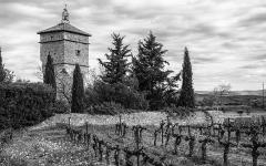 Ancien prieuré dit  château  de Cassan - Français:   Une des toutrs de l\'Abbaye de Cassan. Commune de Roujan, Hérault, Occitanie, France.