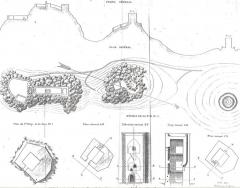 Tours de Cabrenc (également sur commune de Lamanère) - English: Ancien map (1863) of the castle known as