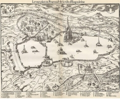 Remparts - English: Map of Angoulême (France) drawned by François de Corlieu that he sent to Belleforest in 1575
