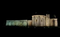 Ruines de l'ancienne abbaye - Français:   église priorale et bâtiments conventuels la nuit