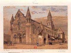 Eglise Notre-Dame-la-Grande - Dessin à la mine de plomb, rehauts d'aquarelle sur papier brun; 13,2 x 20,2 cm. XIXe siècle.