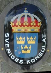 Maison Dinzey, dite Le Brigantin, à Gustavia - English: Consulate for the Kingdom of Sweden (sign)