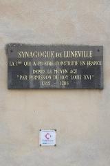 Synagogue - Deutsch: Synagoge (Lunéville in Lunéville im Département Meurthe-et-Moselle in der Region Grand Est (Frankreich), Erklärungstafel