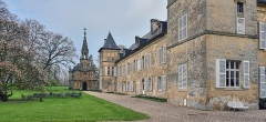 Domaine de Preisch - English: Preisch Castle, commune of Basse-Rentgen. Moselle department, France: rear facade and chapel.