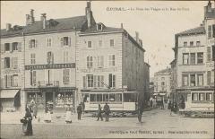 Maison - Français:   La Place des Vosges et la Rue du Pont à Épinal vers 1900.  Immeubles détruits en 1944