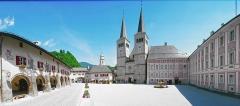 Maison dite de la prévoté - Deutsch: 180°-Ansicht des Berchtesgadener Schlossplatzes mit Stiftskirche und Königlichem Schloss