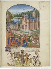 Château Saint-Clair - Français:   Cette enluminure représente le siège du château de Derval au XIVème siècle