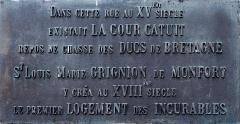 Maison - Français:   Plaque commémorative de La Cour Catuit. (Nantes, Loire-Atlantique, Pays de la Loire, France)