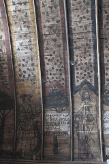 Eglise Saint-Aubin - Deutsch: Kirche Saint-Aubin in Bazouges-sur-le-Loir im Département Sarthe (Centre-Val de Loire/Frankreich), bemalte Holzdecke aus der ersten Hälfte des 16. Jahrhunderts; Darstellung: Apostel, Text des Glaubensbekenntnisses