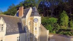 Château de Courtanvaux - English:   Clock of the turret of the castle of Courtanvaux.
