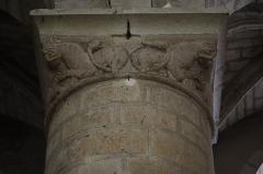 Eglise Notre-Dame-du-Pré - Intérieur de l'église Notre-Dame-du-Pré au Mans (72). Costale sud de la nef. 1ère colonne. Chapiteau.