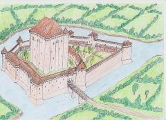 Château de Sainte-Hermine - Français:   Dessin montrant une reconstitution possible du château de Sainte-Hermine (Vendée) à la fin du Moyen-Age.