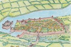 Château de Sainte-Hermine - Français:   Dessin en couleurs montrant une reconstitution possible des fortifications urbaines et du château baronnial de Sainte-Hermine vers le début du XVe siècle.