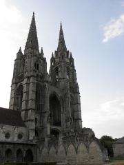 Ancienne abbaye de Saint-Jean-des-Vignes - Revers de la façade occidentale de l'abbatiale Saint-Jean-des-Vignes à Soissons (02).