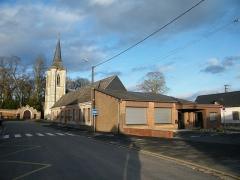 Eglise - Français:   Huppy, Somme, Fr, église, salle communale.