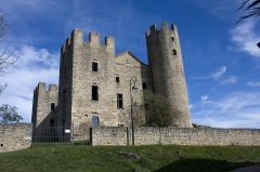 Tour - English:  The west facade of the Castle of Essalois.