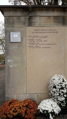 Parc de la Tête-d'Or - Inscription Morts pour la France en opérations extérieures,  monument aux morts de l'Île aux cygnes du parc de la Tête d'or
