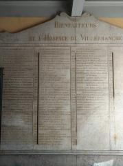 Hôpital - Français:   Plaque listant les bienfaiteurs de l\'Hôtel Dieu de Villefranche-sur-Saône (Rhône, France).