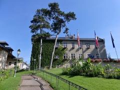 Hôtel de ville (ancien château des Marquis d'Aix) - English: Sight of the foot steps leading to Aix-les-Bains town hall, visible ahead, in Savoie, France.
