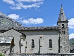 Eglise - English: Sight of Notre-Dame de l'Assomption church of Bonneval-sur-Arc, in the high Maurienne valley, Savoie, France.