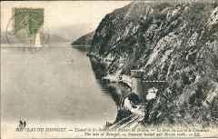 Tunnel de Brison - Français:   Le Lac du Bourget - Tunnel de Saint-Innocent (chemin de fer); rochers de Brison; le bout du lac; Le Colombier - avant 1920 (date d\'envoi postal de la carte)