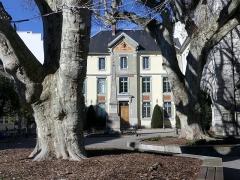 Lycée de garçons - English: Sight of Square Gilbert Durand trees, obelisk and original entrance of lycée Vaugelas high school, in Chambéry, Savoie, France.