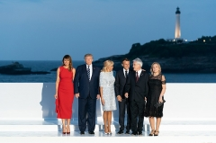 Hôtel du Palais -  President Donald J. Trump and First Lady Melania Trump pose for a photo with President Emmanuel Macron of France, his wife Mrs. Brigitte Macron, President Sebastien Pinera of Chile and his wife Mrs. Cecilia Morel, during the G7 Extended Partners Program Sunday, Aug. 25, 2019, at the Hotel du Palais in Biarritz, France. (Official White House Photo by Andrea Hanks)