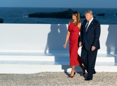 Hôtel du Palais -  President Donald J. Trump and First Lady Melania Trump walk to dinner after participating in a family photo during the G7 Extended Partners Program Sunday, Aug. 25, 2019, at the Hotel du Palais in Biarritz, France. (Official White House Photo by Andrea Hanks)