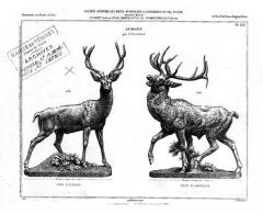 Fonderie du Val d'Osne -  Cerfs par Pierre Louis Rouillard. Page du catalogue de la fonderie du Vals D'Osne (France), vers 1875, à gauche le Cerf d'Europe