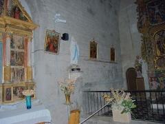 Eglise paroissiale Saint-André - Partie gauche du retable principal, Église Saint-André (12ème siècle), Montbolo (Pyrénées-Orientales, Languedoc-Roussillon, France)