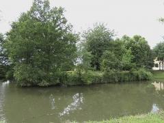Ensemble dénommé Le Grand Poillé - Français:   Ancienne motte à proximité de la cour du logis. On peut noter sous les arbustes un ouvrage maçonné rectangulaire s\'étendant jusqu\'à côté du bassin.