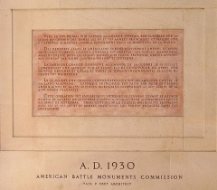Monument américain de la cote 204 - English: Commemorative text on the American Monument of Château-Thierry. Describe the operations during the Battle of Château-Thierry (1918).
