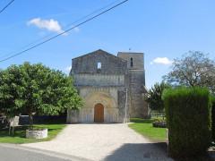 Ancienne église d'Usseau - Deutsch: Westfassade der ehemaligen Pfarrkirche von Usseau, Gemeinde Marignac