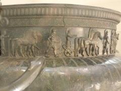Site et tombe princière de Vix -  The rim of the Vix krater, featuring Greek warriors and horses, on display at the Musée du Pays Châtillonnais in Châtillon-sur-Seine, France