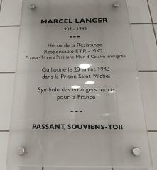 Ancienne prison Saint-Michel - Français:   Plaque commémorative de Marcel Langer dans la station Saint-Michel - Marcel Langer de la ligne B du métro de Toulouse.