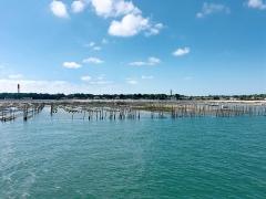 Phare - Français:   Des parcs à huîtres devant la plage du Mimbeau au Cap-Ferret, avec le phare et le Château d'eau de la presqu'île en arrière-plan.