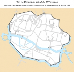 Enceinte fortifiée - English: Map in French of the city of Rennes, Ille-et-Vilaine, France, as it was at the early 17th century according to Henri Carré, Recherches sur l'administration municipale de Rennes au temps de Henri IV, Paris, 1888. Note: Excepted the missing label 55, no modifications have been made to the original map.