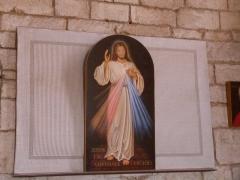 Chapelle Saint-Blaise - Français:   Icône exposée dans la chapelle Saint-Blaise et représentant le Christ Victorieux inspirée d\'une vision de sainte Faustine. Cette chapelle est également appelée chapelle de la Divine Miséricorde. (Rocamadour, Lot)
