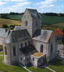 Eglise priorale Saint-Fromond - English: Abbatial of St Fromond, 50, France picture taken from drone