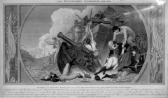 Fortifications des îles Saint-Marcouf - English:   A British propaganda engraving of the French defeat at the Battle of St Marcouf in May 1798.
