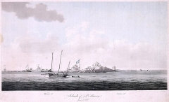 Fortifications des îles Saint-Marcouf - English:   Engraving  showing the failure of the French attempt to recover the islands in 1798