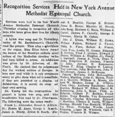 Cimetière américain - English: Recognition Services Held in New York Avenue Methodist Episcopal Church in The Brooklyn Citizen of Brooklyn, New York City on December 7, 1918
