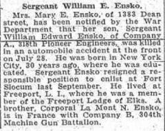Cimetière américain - English: Sergeant William Edward Ensko (1888-1918) obituary in the Brooklyn Eagle on Thursday, August 15, 1918