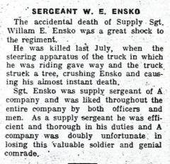 Cimetière américain - English: Sergeant William Edward Ensko (1888-1918) obituary in The Sapper 318th Engineers (1919)